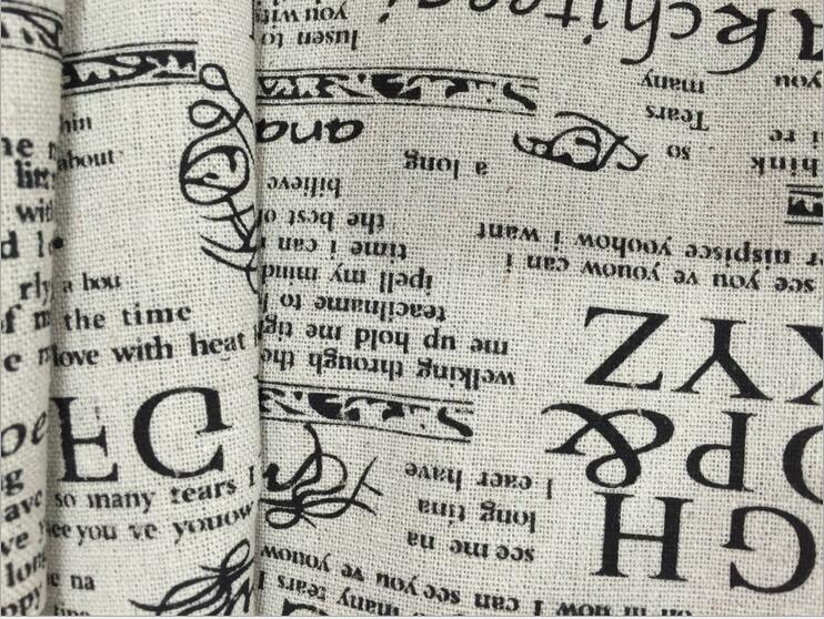 100*150cm retro upholstery cotton and linen blend fabric by meter printed newspaper home decor curtain tablecloth cotton fabric