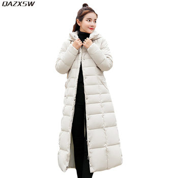 2019 New Women Winter Cotton Jacket Long Outer Hooded Coat Warm Jackets Black Vintage Plus Size Outwear Invierno Abrigos AC143