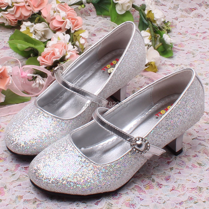 Hot Children Kids High Heel Shoes Silver Wedding For Flower S Plus Size 29 36 In Leather From Mother On Aliexpress Alibaba