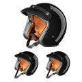 XL/L/M Negro Brillante ABS Unisex Hombres Y Mujeres de Cascos de Moto Open Face 57-62 cm