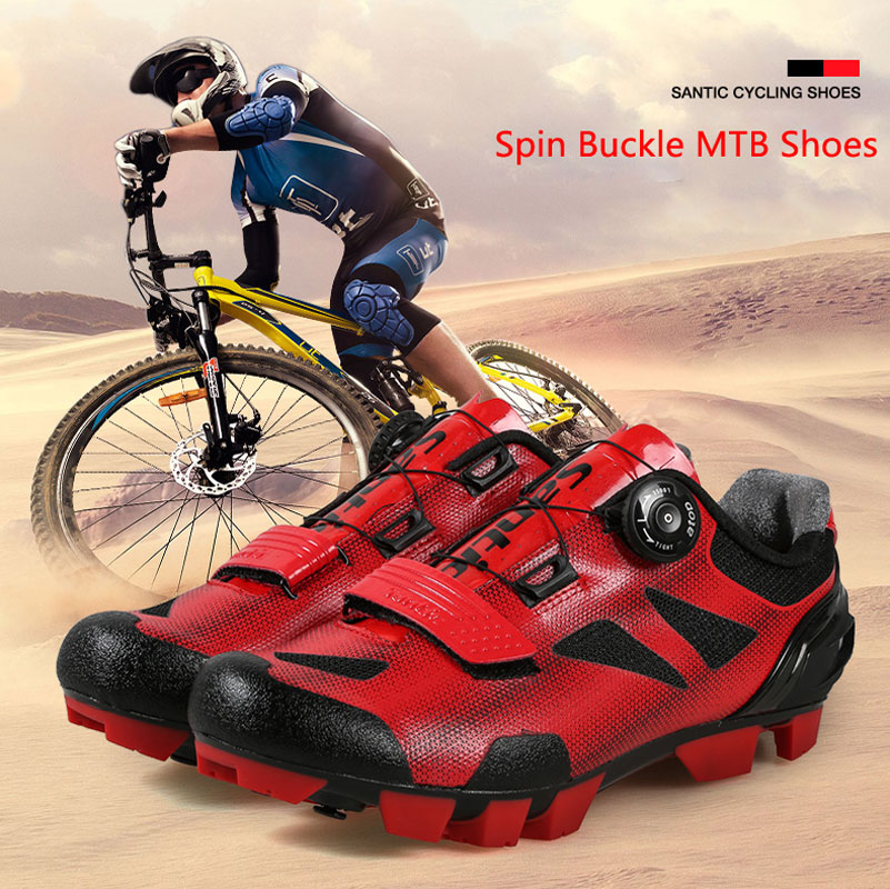 New Santic Mens Breathable Cycling Shoes Spin Buckle MTB Mountain Bike Shoes Elastic Quick Dry PU