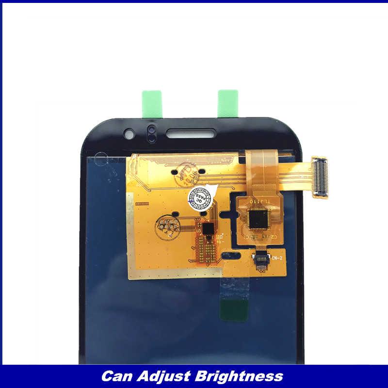 يمكن ضبط سطوع شاشات lcd لسامسونج غالاكسي J1 Ace J110 SM-J110F J110H شاشة الكريستال السائل مجموعة المحولات الرقمية لشاشة تعمل بلمس استبدال