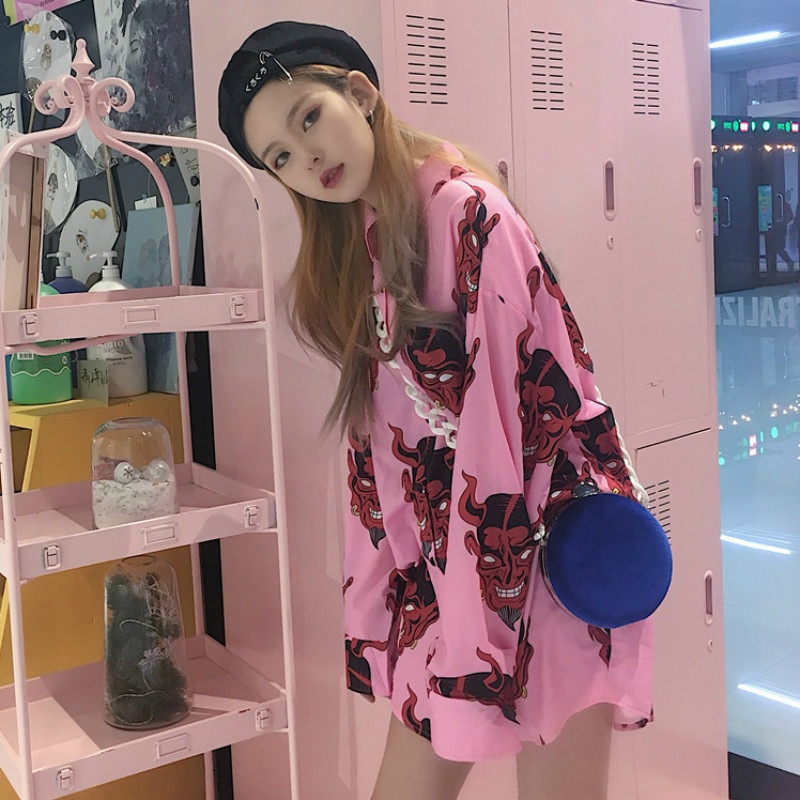Harajuku Fashion Devil Dead Cartoon Printing Women Shirts Streetwear Mid-Long Loose Student Shirts Lapel Personalized Shirts