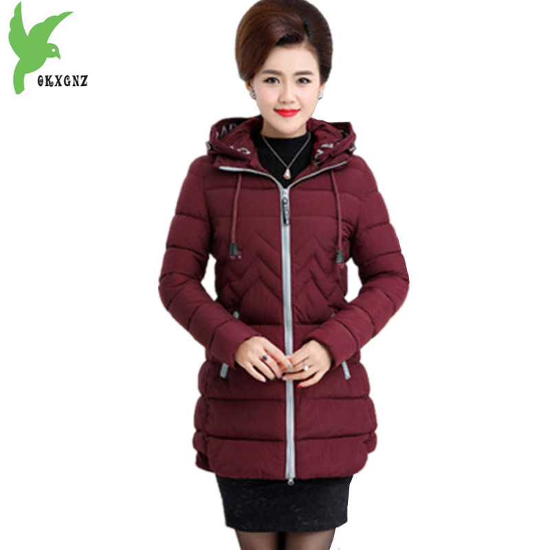 New Middle-aged Women Cotton Jacket Coats Winter Thick Warm Parkas Plus size Hooded Slim ...