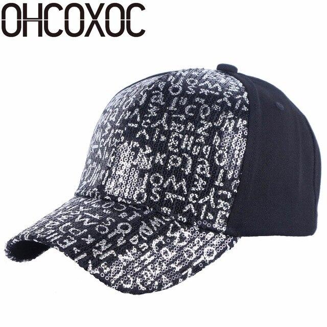 6a498866b73 OHCOXOC new design women baseball cap bling sequin handmade fashion caps  wholesale spring summer outdoor casual