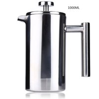 1000ML Stainless Steel French Cafetiere With Filter Permanent Coffee Filter Baskets Espresso Maker With Double Wall