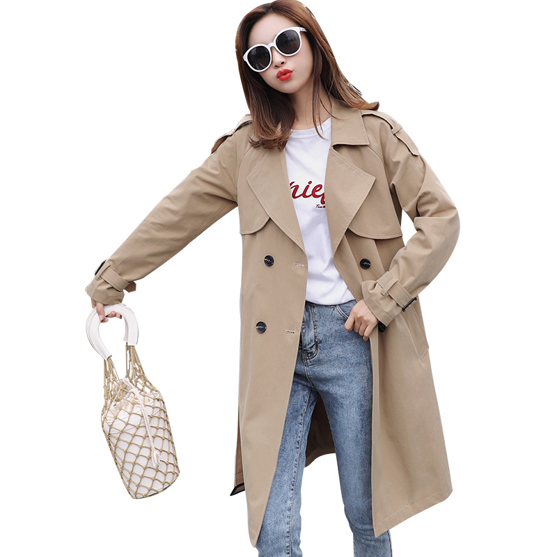 Trench   coat female 2019 spring British style windbreaker coat women casual long   trench   coat for women's clothes outwear Bf khaki