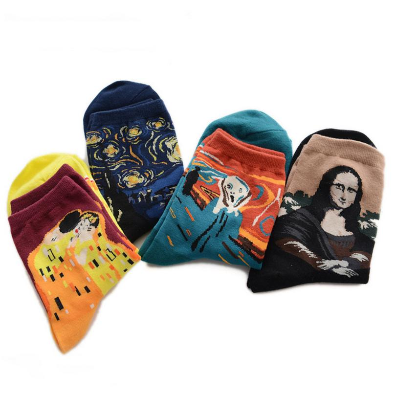 YRRETY Европейский 3D живопись Книги по искусству носки Мона Лиза печатных Для женщин хлопковые носки Sky Star чистый теплые гольфы Calcetines подарок ... ...