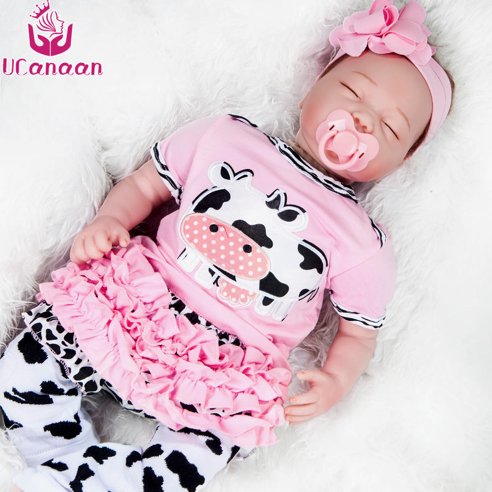 UCanaan 50-55cm Soft Silicone Doll Reborn Baby Eyes closed Toys Before sleep Early education 22 inches baby doll For Girls
