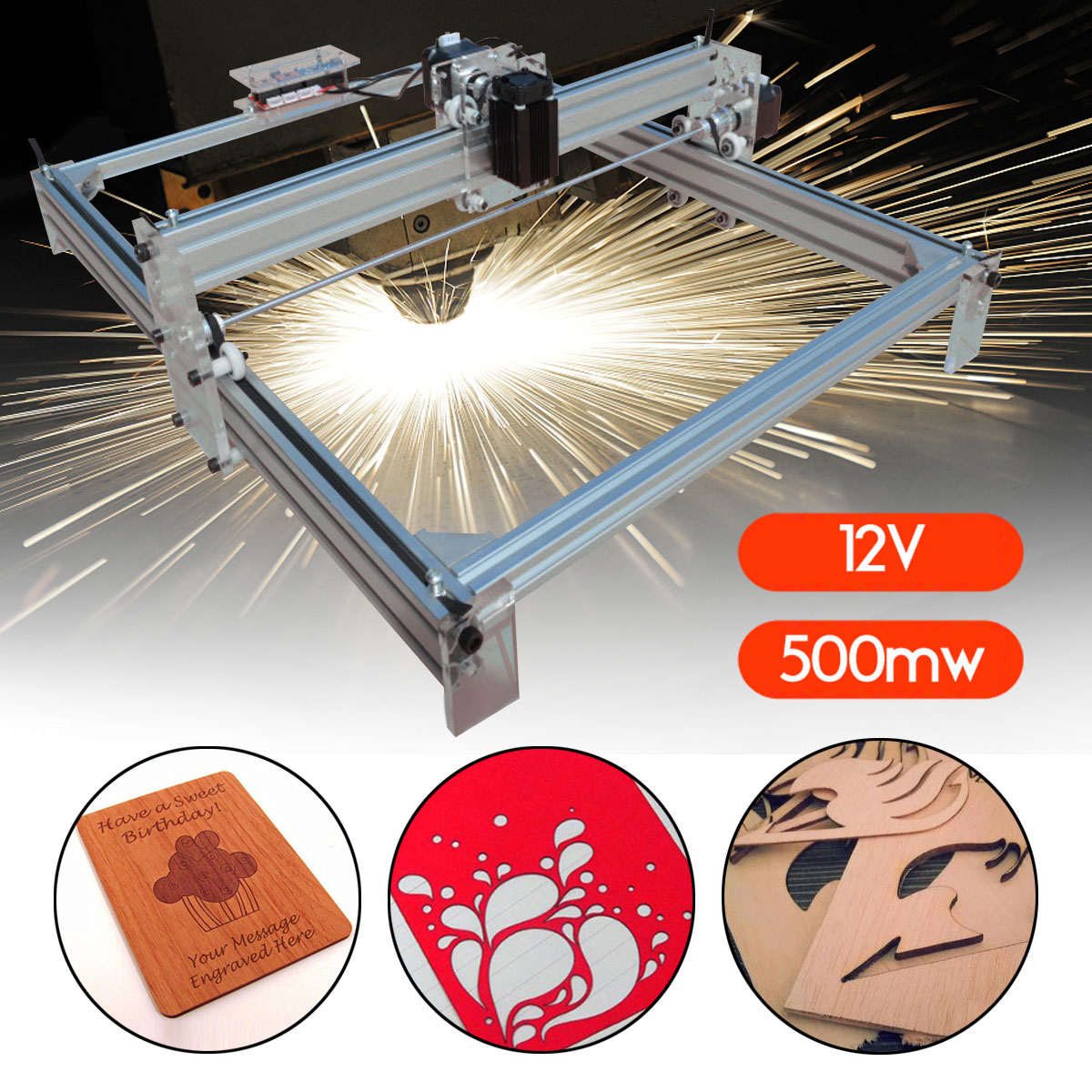40X50CM Mini DIY Desktop Blue Laser Engraving Engraver Machine 500mW Wood Router/Cutter/Printer/Power Adjustable + Laser Goggles 1000mw diy desktop mini laser engraver engraving machine laser cutter etcher 50x65cm adjustable laser power