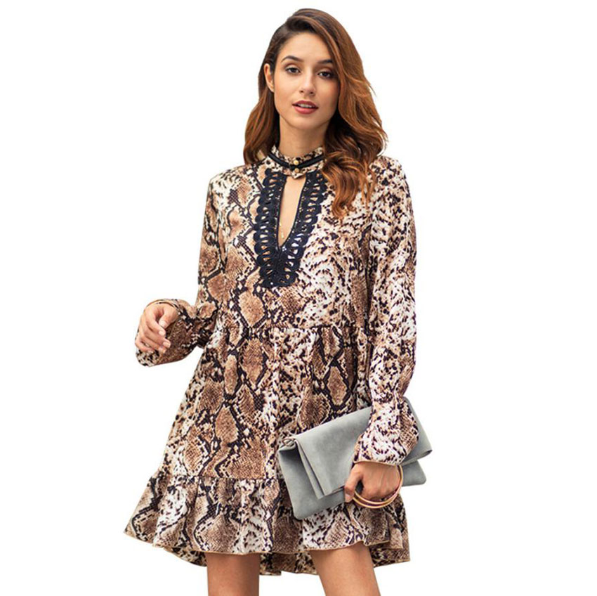 Women Dress Summer 2019 Leopard Print Mini Dresses Free Shipping Falbala Lady Dresses With Long Sleeves Female Spring Clothing