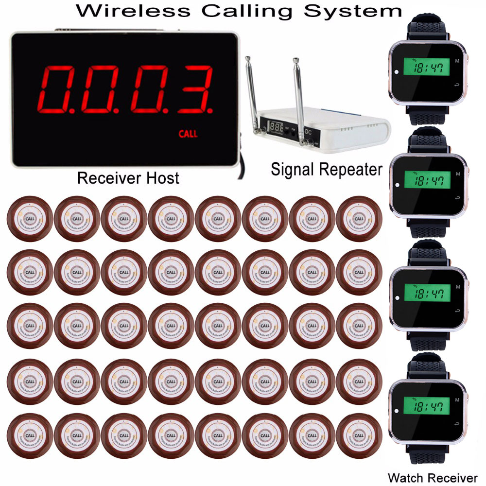 Wireless Calling System 1 Receiver Host + 4 Watch Receiver + Signal Repeater + 40 Call Transmitter Button Restaurant Pager F3360