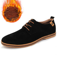 M anxiu 2018 New Winter Shoes Oxford Stylish Men's Classic Suede Leather Casual Shoes Thermal Fleece Lining Man Christmas Gift
