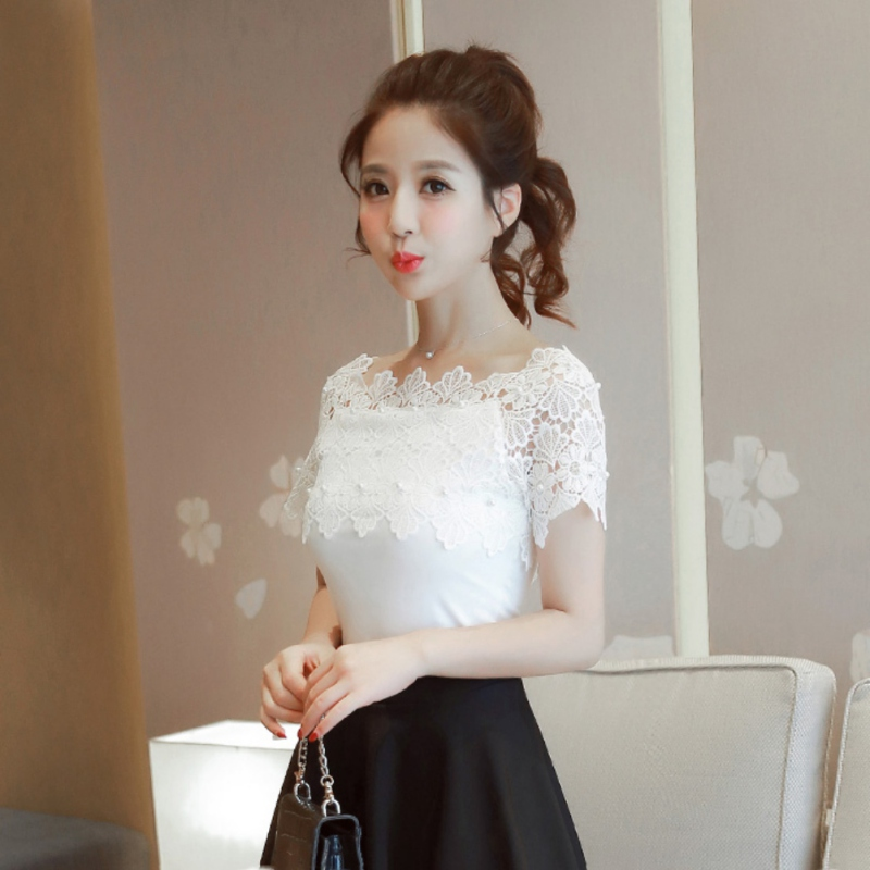 ROPALIA Women Lace Patchwork   Blouse     Shirt   Casual Slash Neck Short Sleeve White   Blouse   Ladies Summer Hollow Elegant Bl