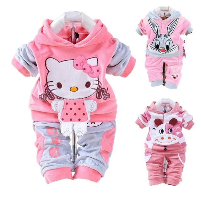 b9282e2d9 2pcs Cartoon Velvet Baby Girl Clothes 2018 Autumn Fashion Baby Boy ...