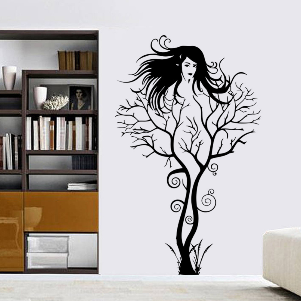 compare prices on black studies online shopping buy low price creative sexy girl tree removable wall sticker decal home decor vinyl mural art decal black for