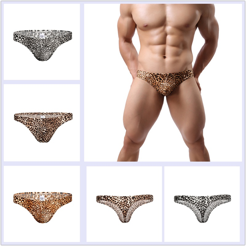 1pcs Mini Underwear Thong Briefs Comfortable Mens Leopard Print Breathable Low Waist Sexy Men Pants Shorts ZJM9088
