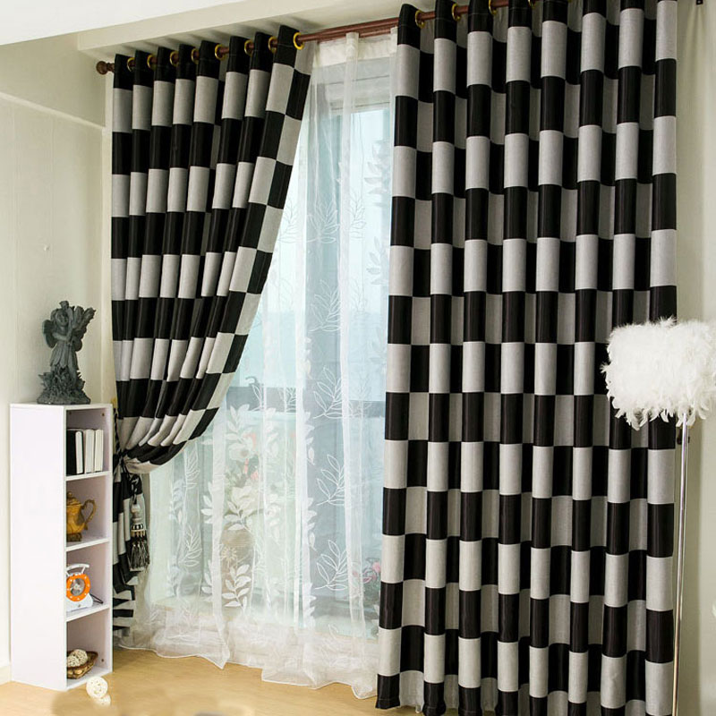 The Latest European Style Curtains Black And White Grid Modern Living Room  Curtains Double Sided Printing Blackout Curtain In Curtains From Home U0026  Garden On ...