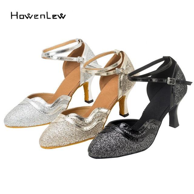 Modern Women s Dance Shos Customized Heels Sequined Glitter Latin Ballroom  Tango Salsa Suede Dancing Shoes Black Silver Gold b21e238eb8e5