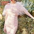 Luxo Casacos de Pele Cor De Rosa Da Pena Da Avestruz Do Casamento Bolero 2016 Mulheres Inverno Jaqueta De Noiva Acessórios Do Casamento veste mariage femme B80