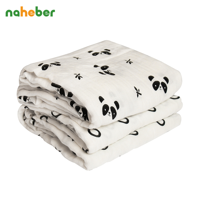 Bamboo Muslin Cotton Baby Swaddles 120*120cm Newborn Baby Blankets Breathable Bath Towel  Hold Wraps