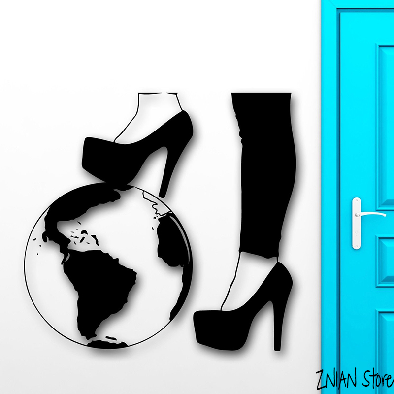Sexy Girl Foot Wall Decals Earth Silhouette Wall Stikcer For Bedroom Removable Art Mural Window Deocration H075