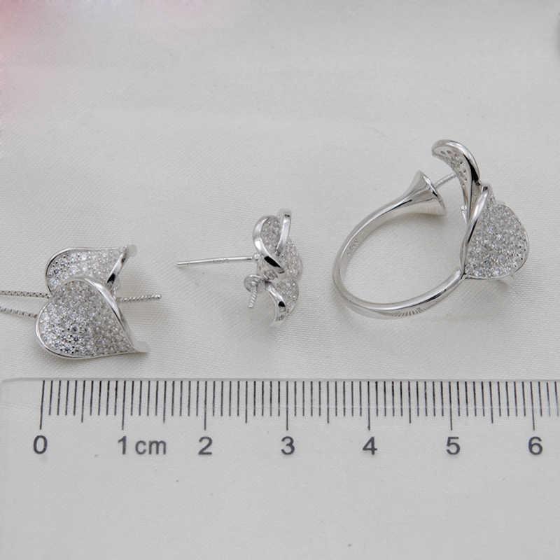[Meibapj] nova moda real 925 prata esterlina flor conjunto de jóias pérola natural pingente colar anel e conjuntos de colar para mulher