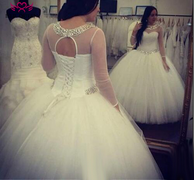 Bright Crystal Beading Simple Tulle Ball Gown Wedding Dress Pure White Plus Size Long Sleeve Africa