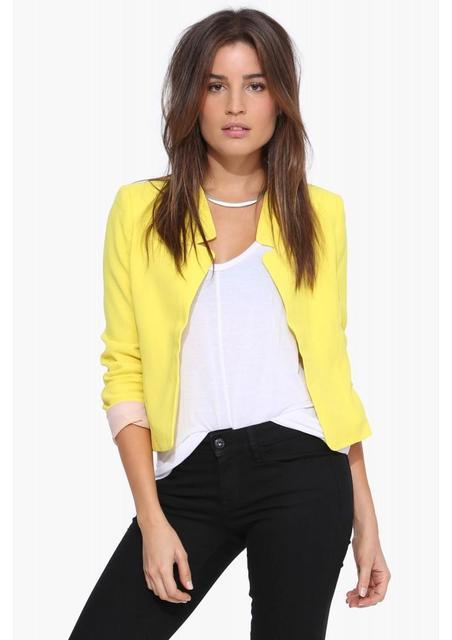 Blazers Blazer das Mulheres 2016 Outono Mulheres Casuais Doce Cor Cardigan Entalhado Colarinho Senhoras Da Moda Jaqueta Casaco Blazer Feminino