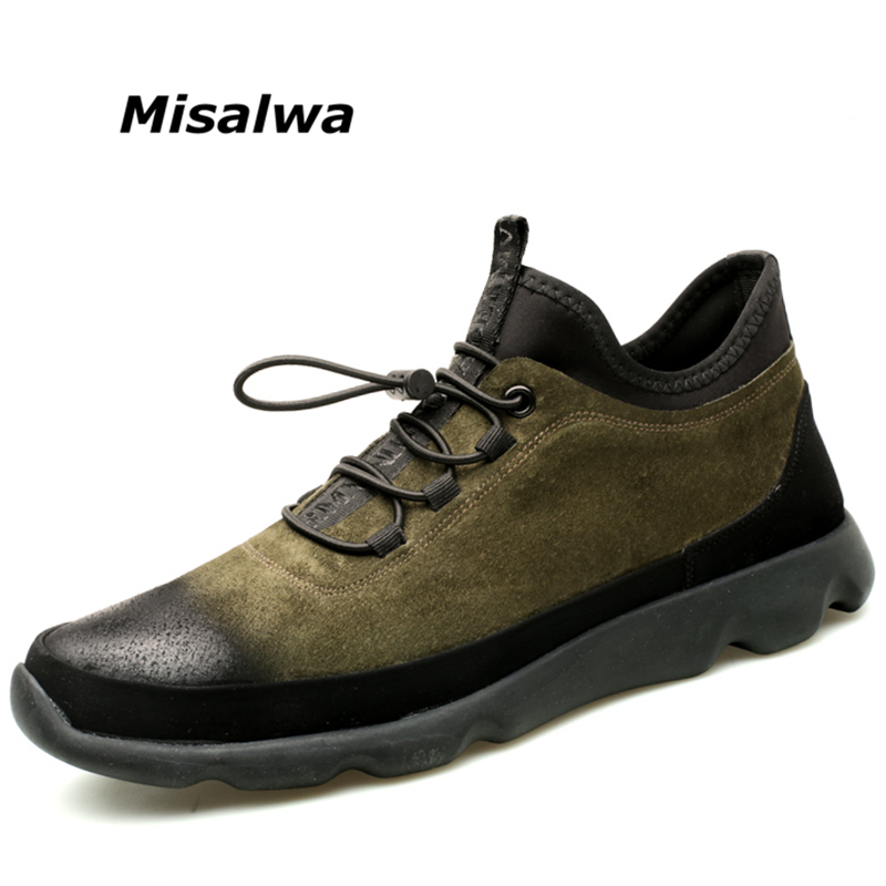 Misalwa 2019 nouvelle décontracté hommes chaussures en cuir brosse dégradé de couleur bout rond Designer homme chaussette bouche sans lacet appartements
