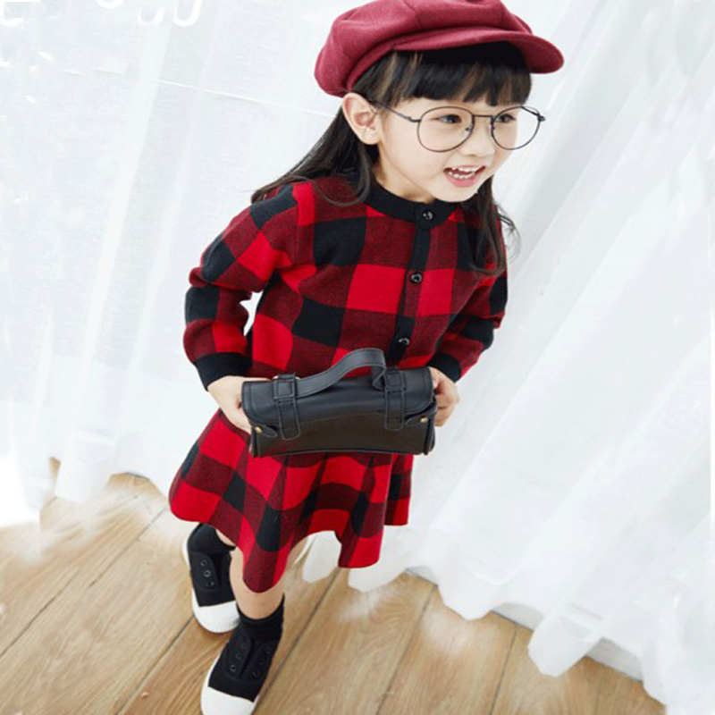2016 Fashion autumn/winter children Sets For 2 Pcs Kids Girl Long Sleeve  plaid cardigan Tops + Plaid Tutu Skirts Sets