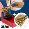 38Pcs Titanium Coated Drill Bits High Quality Power Tools HSS High Speed Steel Drill Bits Set