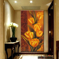 Modern entrance decorative painting modern mural tulip oil paintings wall multi color for choice
