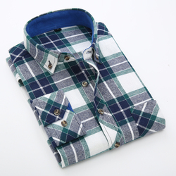 Autumn 2016 young men s long sleeved brushed flannel plaid shirt 100 cotton comfort soft casual.jpg 250x250