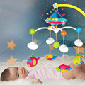 Plástico chocalho do bebê cama sino musical berço móvel rotating bracket projetando toys para 0-12 meses newborn crianças batismo presente