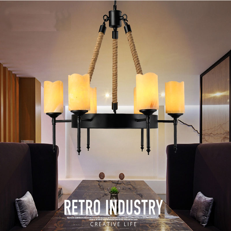 Nordic 8 Arms Marble Candle Shape Chandelier Hemp Rope