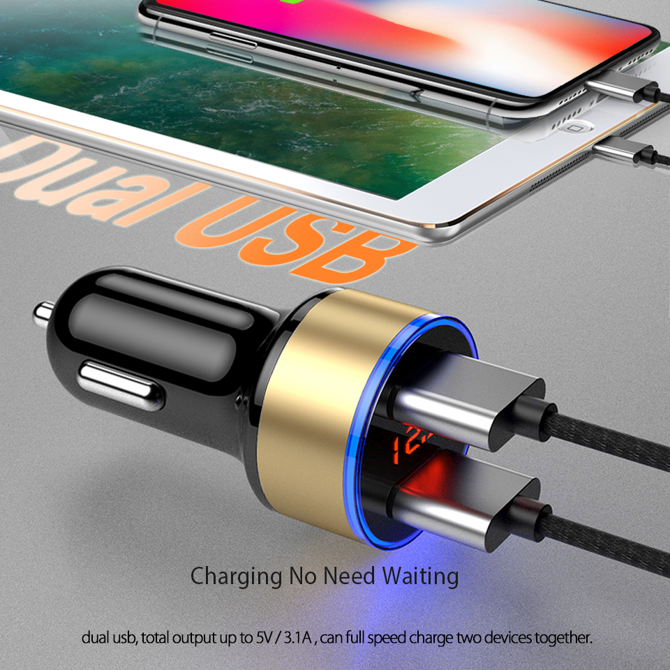 HTB1mvqVteuSBuNjSsplq6ze8pXay - CRDC Car Charger 5V 3.1A With LED Display Universal Dual Usb Phone Car-Charger for Xiaomi Samsung S8 iPhone X 8 Plus Tablet etc