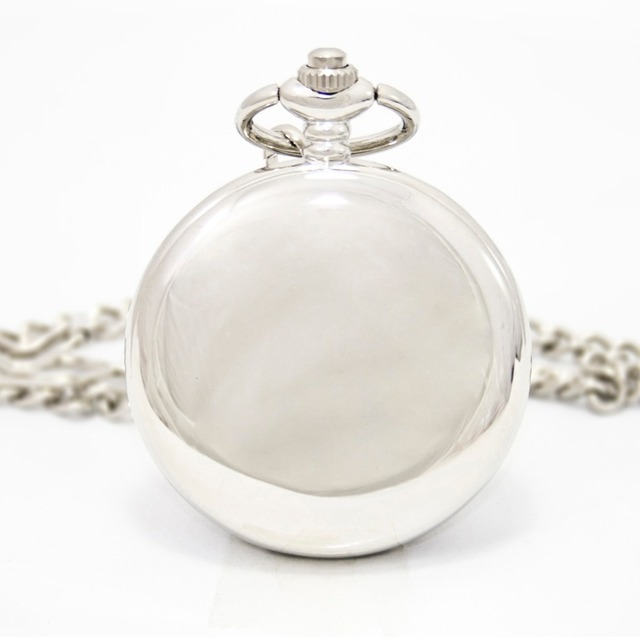 Fashion Silver Smooth Steel Steampunk Mechanical Pocket Watch Men Women Necklace