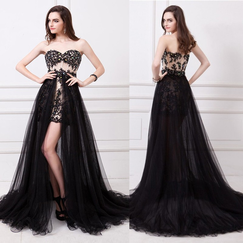 2017 Black Sexy Two Piece Prom Dresses Removable Skirt Sweetheart Crystal Beaded Appliques Short Evening Party Gowns