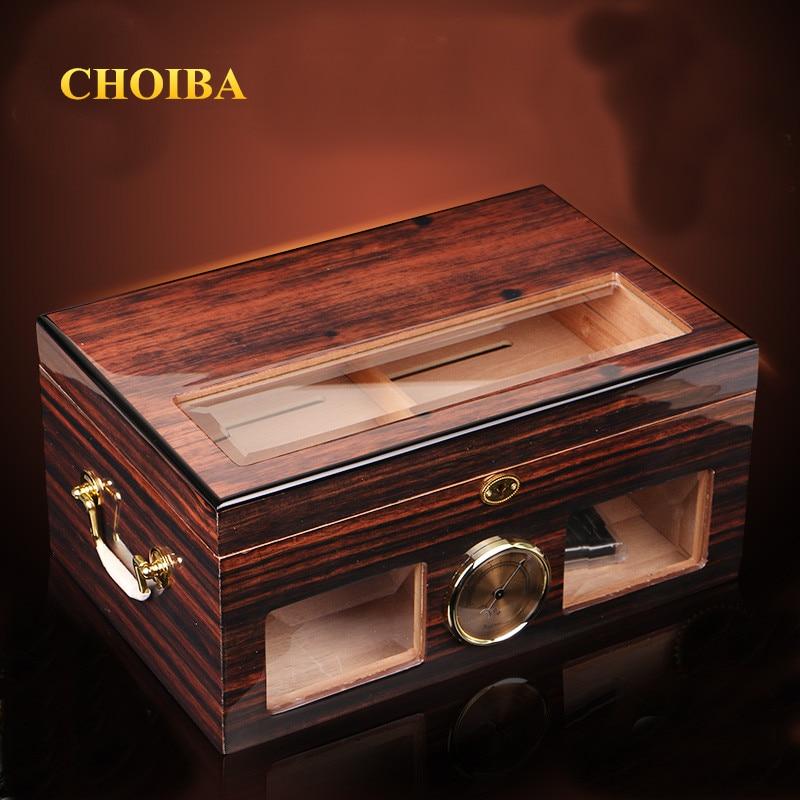 Luxury See through Glass Window High Glossy Finish Cuban Cigar Humidor Nice Storage Box with Lock
