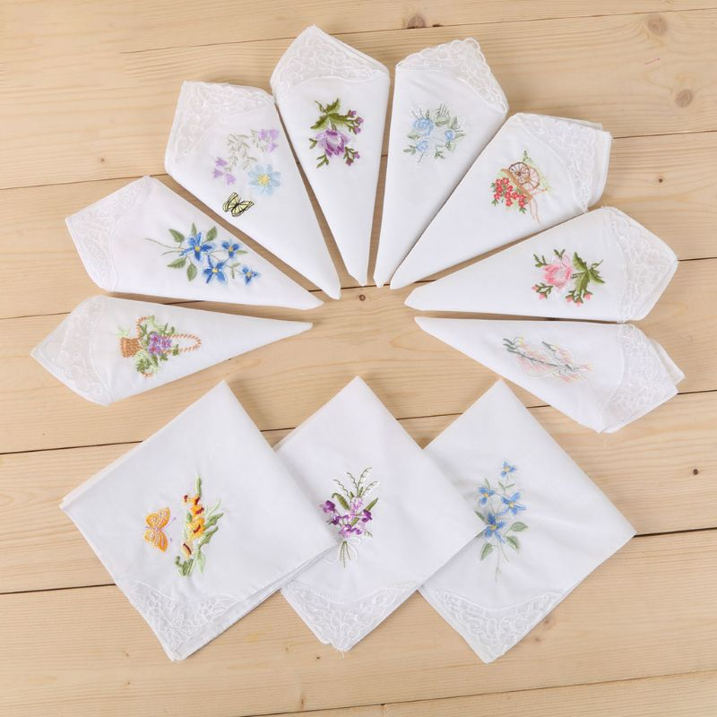 3Pcs Women Basic White Square Handkerchief Floral Embroidered Pocket Hanky Lace Cotton Baby Bibs Portable Towel Napkin Random