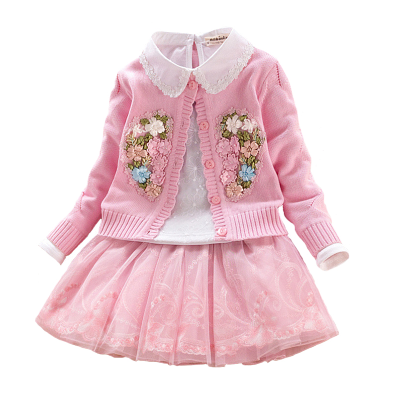 Floral Children Set Girls Cotton Sweater Coat+lace Blouses+tutu Skirt 3pcs Autumn\winter Child Princess Clothing for 3Y-9Y promotion 6pcs cartoon baby crib bedding set for girls boys cotton baby bed linen include bumper sheet pillow cover