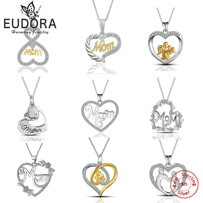 Eudora Romantic Mom Style 925 Sterling Silver AAA Crystal CZ Heart Pendant Necklace Fashion women Mom Jewelry Anniversary Gift yoursfs fashion jewelry women s necklace with heart pendant white gold plated crystal engraved mom for women gift