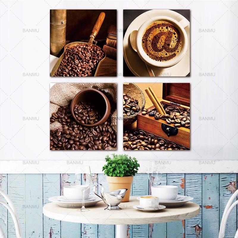 Káva a káva Fazole Plátno Obrazy Tisk Moderní nástěnná malba dekorací nástěnné malby pro kuchyňské dekorace Modular Pictures