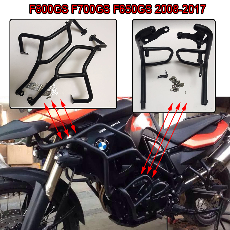 F650G F700GS F800GS Radiator Engine Guards Highway Crash Bars Upper+Lower Frame Protector for BMW F800GS F700GS F650GS 2008-2018