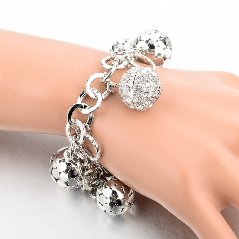 LongWay Strand Bracelet Silver Color Gold Color Bracelets with Hollow Ball Crystal For Women Bracelet Accessories SBR160023103 11