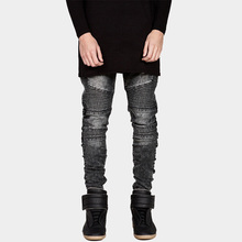 Mens Skinny Biker Jeans Men 2016 Hi Street Ripped Rider Denim Jeans Motorcycle Runway Slim Fit