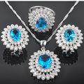 Noblest Flower Blue Zirconia Women's 925 Sterling Silver Jewelry Sets Earrings/Pendant/Necklace/Rings Free Shipping QZ005