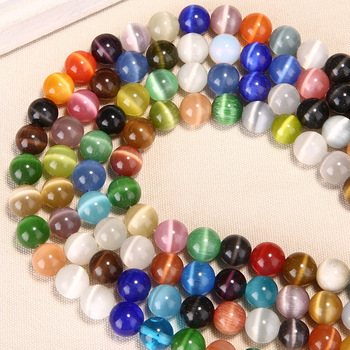 Cuentas redondas de cristal brillantes 4 6 8 10 12 14mm Tamaño de recogida cuentas de piedra sueltas de cristal de ojo de gato Natural materiales de joyería pulsera DIY