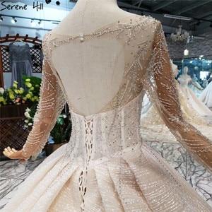 Image 5 - แขนยาวหรูหรา Sparkle ชุดแต่งงาน 2020 VINTAGE High end ประดับด้วยลูกปัด Sequined เซ็กซี่เจ้าสาว Gowns HX0180 CUSTOM Made